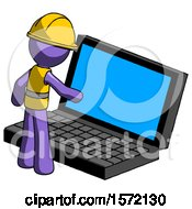 Purple Construction Worker Contractor Man Using Large Laptop Computer