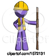 Purple Construction Worker Contractor Man Holding Staff Or Bo Staff