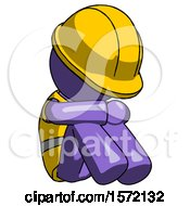 Purple Construction Worker Contractor Man Sitting With Head Down Facing Angle Right