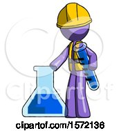 Purple Construction Worker Contractor Man Holding Test Tube Beside Beaker Or Flask