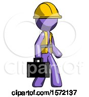 Purple Construction Worker Contractor Man Walking With Briefcase To The Right