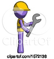Purple Construction Worker Contractor Man Using Wrench Adjusting Something To Right