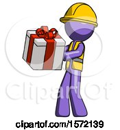 Purple Construction Worker Contractor Man Presenting A Present With Large Red Bow On It