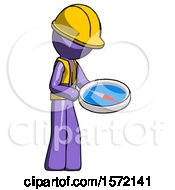 Purple Construction Worker Contractor Man Looking At Large Compass Facing Right