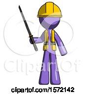 Purple Construction Worker Contractor Man Standing Up With Ninja Sword Katana