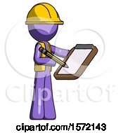 Purple Construction Worker Contractor Man Using Clipboard And Pencil
