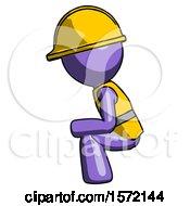 Purple Construction Worker Contractor Man Squatting Facing Left