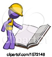 Poster, Art Print Of Purple Construction Worker Contractor Man Reading Big Book While Standing Beside It
