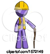 Purple Construction Worker Contractor Man Standing With Hiking Stick