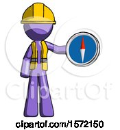 Purple Construction Worker Contractor Man Holding A Large Compass