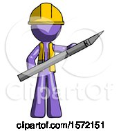 Purple Construction Worker Contractor Man Holding Large Scalpel