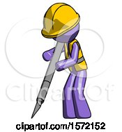 Purple Construction Worker Contractor Man Cutting With Large Scalpel