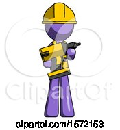 Purple Construction Worker Contractor Man Holding Large Drill