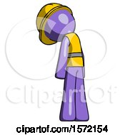 Purple Construction Worker Contractor Man Depressed With Head Down Back To Viewer Left