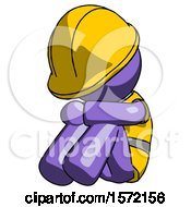 Purple Construction Worker Contractor Man Sitting With Head Down Facing Angle Left