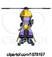 Purple Construction Worker Contractor Man Flying In Gyrocopter Front View