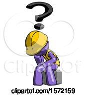 Purple Construction Worker Contractor Man Thinker Question Mark Concept