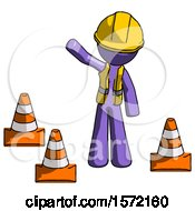 Purple Construction Worker Contractor Man Standing By Traffic Cones Waving