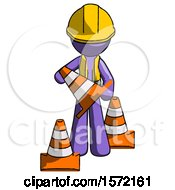 Purple Construction Worker Contractor Man Holding A Traffic Cone