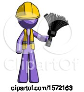 Purple Construction Worker Contractor Man Holding Feather Duster Facing Forward