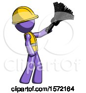 Purple Construction Worker Contractor Man Dusting With Feather Duster Upwards