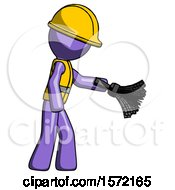 Purple Construction Worker Contractor Man Dusting With Feather Duster Downwards