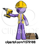 Purple Construction Worker Contractor Man Holding Drill Ready To Work Toolchest And Tools To Right