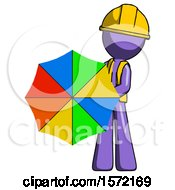 Purple Construction Worker Contractor Man Holding Rainbow Umbrella Out To Viewer