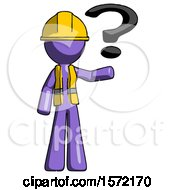 Purple Construction Worker Contractor Man Holding Question Mark To Right