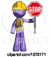 Purple Construction Worker Contractor Man Holding Stop Sign