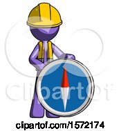 Purple Construction Worker Contractor Man Standing Beside Large Compass