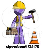 Purple Construction Worker Contractor Man Under Construction Concept Traffic Cone And Tools