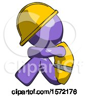 Purple Construction Worker Contractor Man Sitting With Head Down Facing Sideways Left