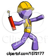 Purple Construction Worker Contractor Man Throwing Dynamite