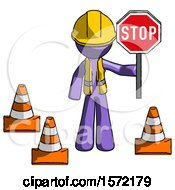 Purple Construction Worker Contractor Man Holding Stop Sign By Traffic Cones Under Construction Concept
