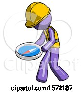 Purple Construction Worker Contractor Man Walking With Large Compass