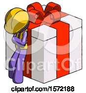Purple Construction Worker Contractor Man Leaning On Gift With Red Bow Angle View