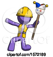 Purple Construction Worker Contractor Man Holding Jester Staff Posing Charismatically