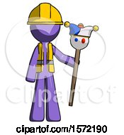 Purple Construction Worker Contractor Man Holding Jester Staff