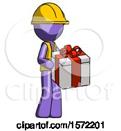 Purple Construction Worker Contractor Man Giving A Present