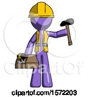 Purple Construction Worker Contractor Man Holding Tools And Toolchest Ready To Work