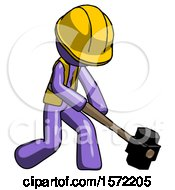 Purple Construction Worker Contractor Man Hitting With Sledgehammer Or Smashing Something At Angle