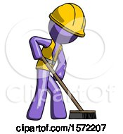Purple Construction Worker Contractor Man Cleaning Services Janitor Sweeping Side View