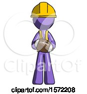 Purple Construction Worker Contractor Man Giving Football To You