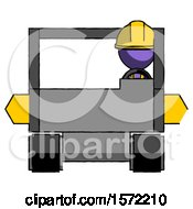 Purple Construction Worker Contractor Man Driving Amphibious Tracked Vehicle Front View