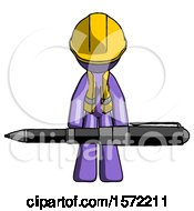 Purple Construction Worker Contractor Man Weightlifting A Giant Pen