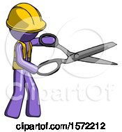 Purple Construction Worker Contractor Man Holding Giant Scissors Cutting Out Something