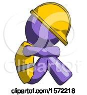Purple Construction Worker Contractor Man Sitting With Head Down Facing Sideways Right