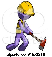 Purple Construction Worker Contractor Man Striking With A Red Firefighters Ax
