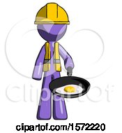 Purple Construction Worker Contractor Man Frying Egg In Pan Or Wok